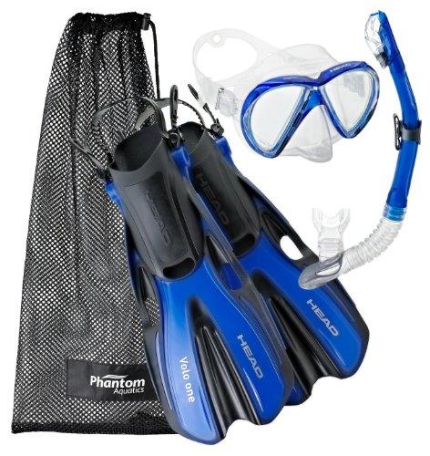 シュノーケリング マリンスポーツ Head by Mares Mask Fin Dry Snorkel Set, Blue - Mediumシュノーケリング マリンスポーツ