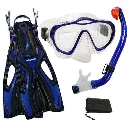 シュノーケリング マリンスポーツ Promate Junior Snorkeling Scuba Diving PURGE Mask DRY Snorkel Fins w/Mesh Bag Set for kids, Blue, L/XLシュノーケリング マリンスポーツ