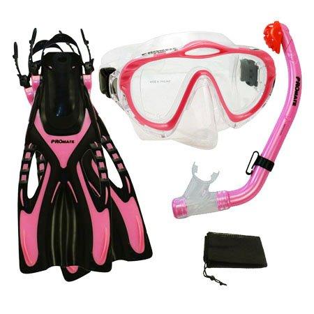 シュノーケリング マリンスポーツ Promate Junior Snorkeling Scuba Diving PURGE Mask DRY Snorkel Fins w/Mesh Bag Set for kids, Pink, S/Mシュノーケリング マリンスポーツ