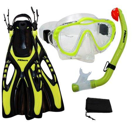 シュノーケリング マリンスポーツ Promate Junior Snorkeling Scuba Diving PURGE Mask DRY Snorkel Fins w/Mesh Bag Set for kids, Yellow, S/Mシュノーケリング マリンスポーツ