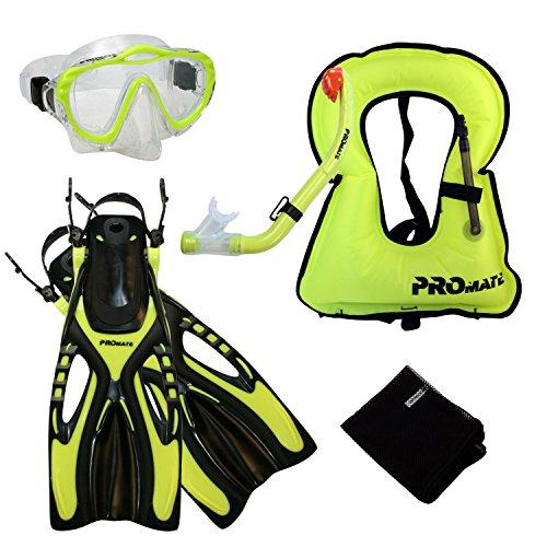シュノーケリング マリンスポーツ Promate 4870, yel, lxl, Junior Snorkel Vest Jacket Mask w/PURGE DRY Snorkel Fins Set for kidsシュノーケリング マリンスポーツ