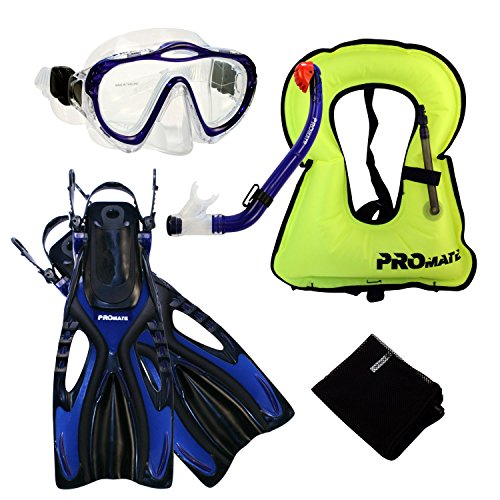 シュノーケリング マリンスポーツ Promate 4870, bu, lxl, Junior Snorkeling Vest Jacket Mask w/PURGE DRY Snorkel Fins Set for kidsシュノーケリング マリンスポーツ