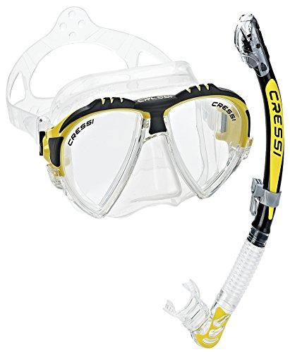 シュノーケリング マリンスポーツ LEPUSHPDJ171 【送料無料】Cressi Matrix Mask & Alpha Dry Snorkel Set, Yellowシュノーケリング マリンスポーツ LEPUSHPDJ171