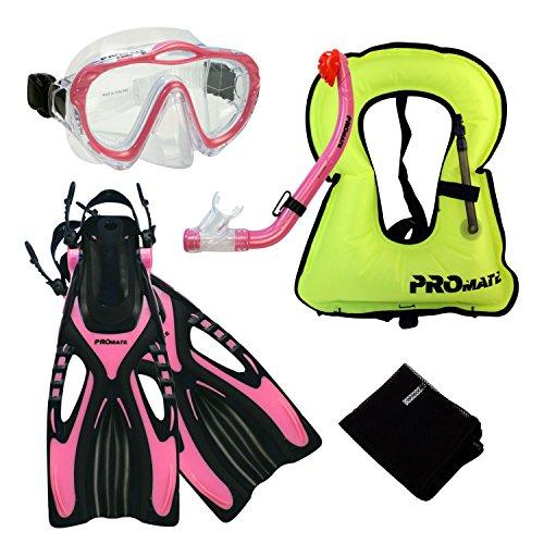 シュノーケリング マリンスポーツ Promate Junior Snorkeling Vest Jacket Mask Snorkel Fins Set for kids, Pink, L/XLシュノーケリング マリンスポーツ