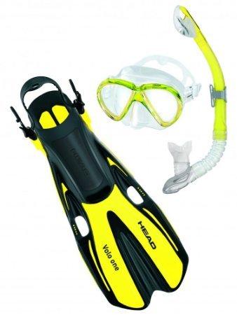 シュノーケリング マリンスポーツ 【送料無料】Marlin Silicone Mask/Fins/Dry Snorkel Set by Head Snorkeling ML (6.5-10) Yellowシュノーケリング マリンスポーツ