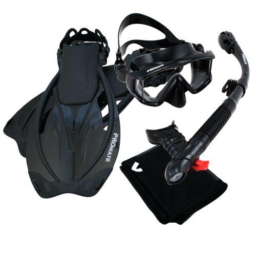 シュノーケリング マリンスポーツ Promate 9990, AllBk, S/M, Snorkeling Scuba Dive Panoramic PURGE Mask Dry Snorkel Fins Gear Setシュノーケリング マリンスポーツ