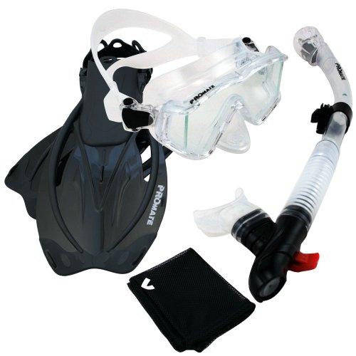 シュノーケリング マリンスポーツ Promate 9990, Clr/Bk, ML/XL, Snorkeling Scuba Dive Panoramic PURGE Mask Dry Snorkel Fins Gear Setシュノーケリング マリンスポーツ