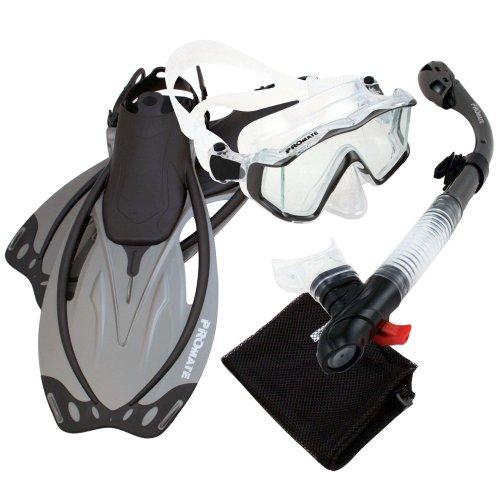 シュノーケリング マリンスポーツ Promate 9990, Ti, MLXL, Snorkeling Scuba Dive Panoramic PURGE Mask Dry Snorkel Fins Gear Setシュノーケリング マリンスポーツ
