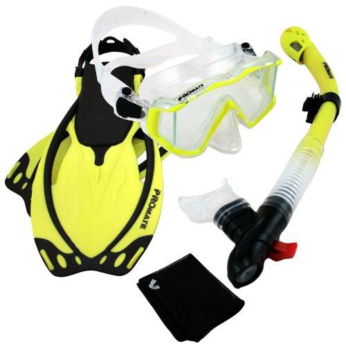 シュノーケリング マリンスポーツ Promate 9990, nYellow, ML/XL, Snorkeling Scuba Dive Panoramic PURGE Mask Dry Snorkel Fins Gear Setシュノーケリング マリンスポーツ