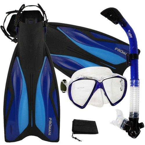 シュノーケリング マリンスポーツ Promate Deluxe Snorkeling Gear Scuba Diving Fins Mask Dry Snorkel Set, Blue, SMシュノーケリング マリンスポーツ