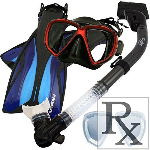 シュノーケリング マリンスポーツ 【送料無料】260680-RxLens-SM, Scuba Dive Fins Dry Snorkel Prescription Mask Snorkeling Setシュノーケリング マリンスポーツ