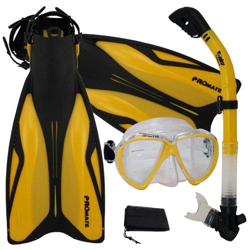 シュノーケリング マリンスポーツ 【送料無料】Promate Deluxe Snorkeling Gear Scuba Diving Fins Mask Dry Snorkel Set, Goldenrod, MLXLシュノーケリング マリンスポーツ