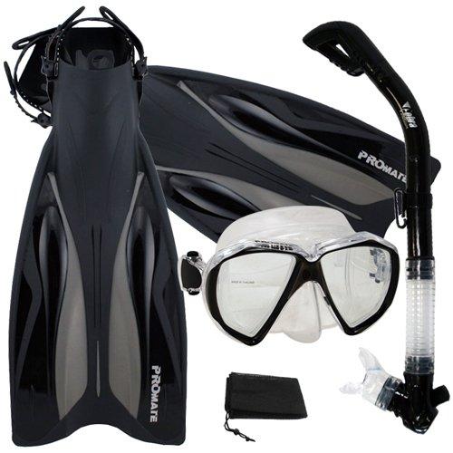 シュノーケリング マリンスポーツ 【送料無料】Promate Deluxe Snorkeling Gear Scuba Diving Fins Mask Dry Snorkel Set, TBK, MLXLシュノーケリング マリンスポーツ