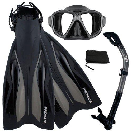 シュノーケリング マリンスポーツ 【送料無料】Promate Deluxe Snorkeling Gear Scuba Diving Fins Mask Dry Snorkel Set, BkTi, SMシュノーケリング マリンスポーツ
