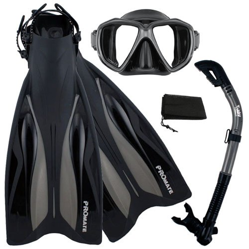 シュノーケリング マリンスポーツ Promate Deluxe Snorkeling Gear Scuba Diving Fins Mask Dry Snorkel Set, BkTi, MLXLシュノーケリング マリンスポーツ