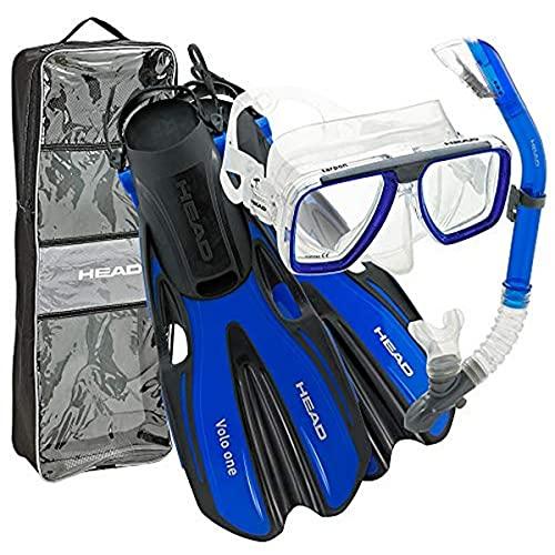 シュノーケリング マリンスポーツ 【送料無料】HEAD by Mares Tarpon Travel Friendly Premium Mask Fin Snorkel Set, Blue, Small, (4-6)シュノーケリング マリンスポーツ