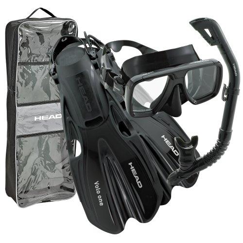 シュノーケリング マリンスポーツ HEAD By Mares Tarpon Travel Friendly Premium Mask Fin Snorkel Set, Black, Medium, (7-10)シュノーケリング マリンスポーツ