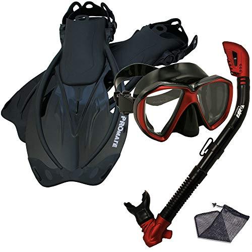 シュノーケリング マリンスポーツ 【送料無料】Promate Snorkeling Scuba Dive Dry Snorkel Mask Fins Gear Set, Black Red, SMシュノーケリング マリンスポーツ