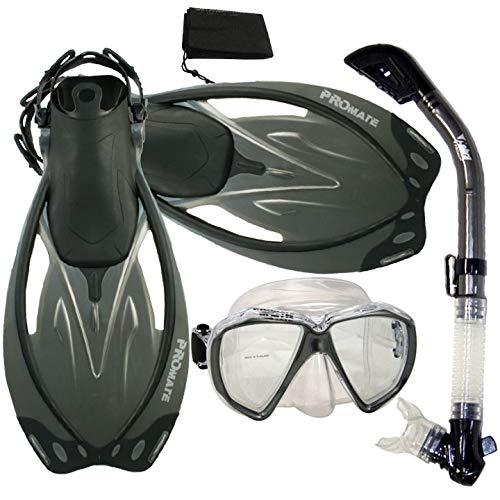 シュノーケリング マリンスポーツ Promate Snorkeling Scuba Dive Dry Snorkel Mask Fins Gear Set, Titanium, MLXLシュノーケリング マリンスポーツ