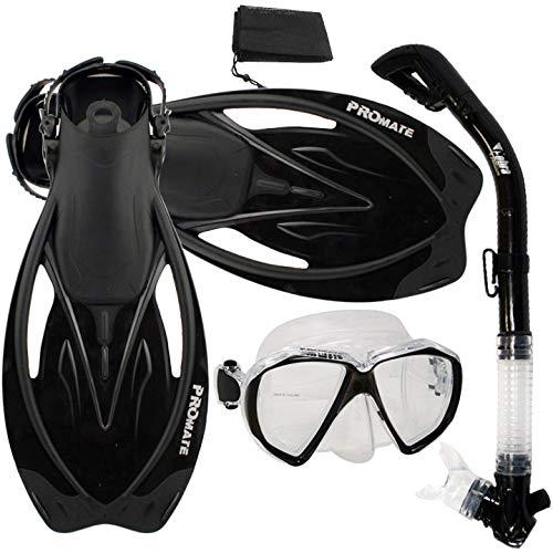 シュノーケリング マリンスポーツ Promate Snorkeling Scuba Dive Dry Snorkel Mask Fins Gear Set, Trans.Black, SMシュノーケリング マリンスポーツ