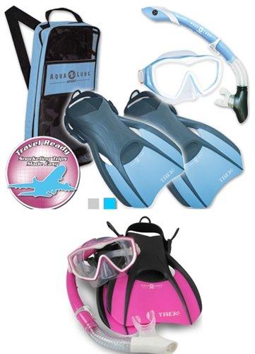 シュノーケリング マリンスポーツ Aqualung Snorkel Set with Sport Diva 1 Lx Mask, Island Dry Snorkel and Trek Fin, Pink, Mediumシュノーケリング マリンスポーツ