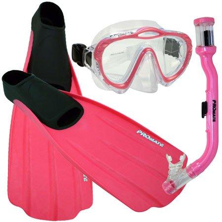 シュノーケリング マリンスポーツ Promate Junior Snorkeling Scuba Dive Mask DRY Snorkel FULL FOOT Fins Set for kids, Pink, XXS (Shoe: 1-3)シュノーケリング マリンスポーツ