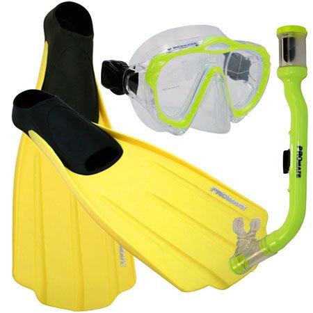 シュノーケリング マリンスポーツ 【送料無料】Promate Junior Snorkeling Scuba Dive Mask Dry Snorkel Full Foot Fins Set for Kids, Yellow, XXS (Shoe: 1-3)シュノーケリング マリンスポーツ