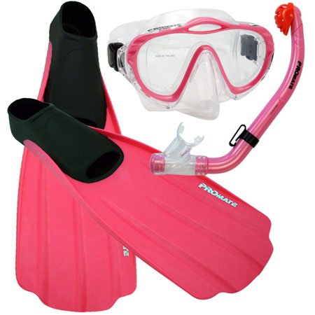 シュノーケリング マリンスポーツ Promate Junior Snorkeling Scuba Diving PURGE Mask DRY Snorkel FULL FOOT Fins Set for kids, Pink, XS (Shoe: 3-5)シュノーケリング マリンスポーツ