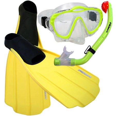 シュノーケリング マリンスポーツ Promate Junior Snorkeling Scuba Diving PURGE Mask DRY Snorkel FULL FOOT Fins Set for kids, Yellow, XS (Shoe: 3-5)シュノーケリング マリンスポーツ