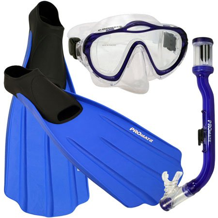シュノーケリング マリンスポーツ Promate Junior Snorkeling Scuba Dive PURGE Mask DRY Snorkel FULL FOOT Fins Gear Set for kids, Blue, XS (Shoe: 3-5)シュノーケリング マリンスポーツ