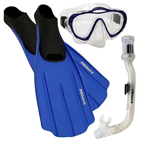 シュノーケリング マリンスポーツ Junior Snorkeling Scuba Dive Purge Mask Dry Snorkel Full Foot Fins Gear Set for Kids, Clr/Blue, XXS (Shoe: 1-3)シュノーケリング マリンスポーツ