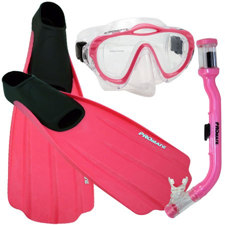 シュノーケリング マリンスポーツ Promate Junior Snorkeling Scuba Dive PURGE Mask DRY Snorkel FULL FOOT Fins Gear Set for kids, Pink, XXS (Shoe: 1-3)シュノーケリング マリンスポーツ