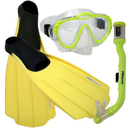 シュノーケリング マリンスポーツ Promate Junior Snorkeling Scuba Dive PURGE Mask DRY Snorkel FULL FOOT Fins Gear Set for kids, Yellow, XS (Shoe: 3-5)シュノーケリング マリンスポーツ