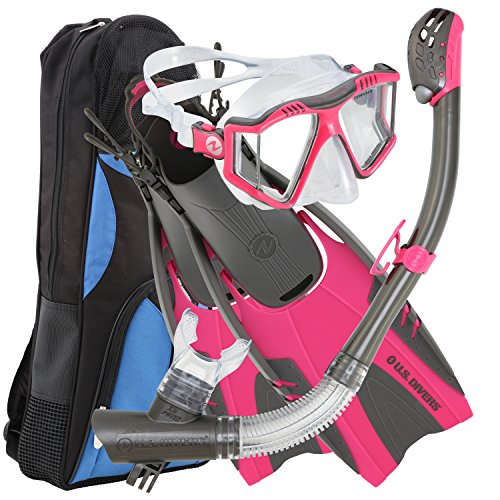 シュノーケリング マリンスポーツ 253621 U.S. Divers Lux Platinum Snorkel Set Compatible with GoPro - Panoramic View Mask, Pivot Fins, Dry Top Snorkel + Gear Bag, Pink S/Mシュノーケリング マリンスポーツ 253621