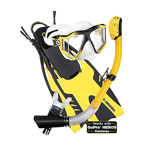 シュノーケリング マリンスポーツ LEPUSHPDJ6635 【送料無料】U.S. Divers Lux Mask Fins Snorkel Set Compatible with GoPro, Yellow, Large/X-Largeシュノーケリング マリンスポーツ LEPUSHPDJ6635