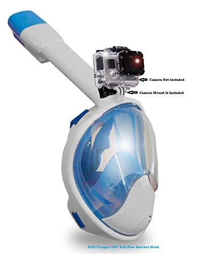 シュノーケリング マリンスポーツ Voyager H2O 180° Latest Generation Full Rounded Face Panoramic Snorkel Mask,Camera Mount, Anti Fog, Anti Gag, Choose from 7 Unique Colors (Blue, L,XL)シュノーケリング マリンスポーツ