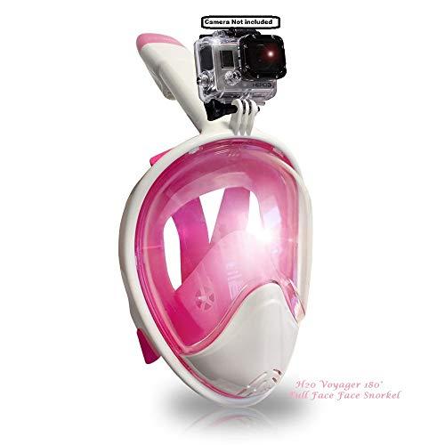 シュノーケリング マリンスポーツ 【送料無料】Voyager H2O 180 Full Face Snorkel Mask, Larger Rounded Panoramic Viewing, Camera Mount, Anti Gag, Anti-Leak, Easybreath Snorkeling (Pink Snorkel, S/M)シュノーケリング マリンスポーツ