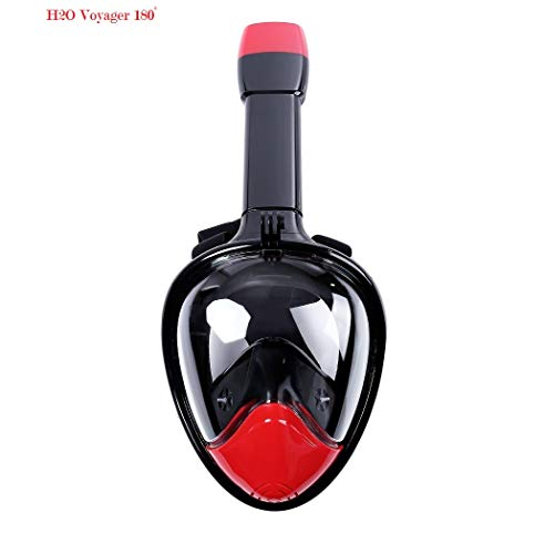シュノーケリング マリンスポーツ Voyager H2O 180 Latest 2018 Generation Full Rounded Face Panoramic Snorkel Mask, Camera Mount, Anti Gag, Choose from 7 Unique Colors (Red, L/XL)シュノーケリング マリンスポーツ