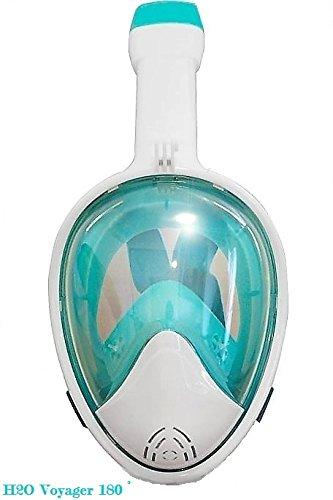 シュノーケリング マリンスポーツ 【送料無料】Voyager H2O 180° Full Face Snorkel Mask, Larger Rounded Panoramic Viewing, Camera Mount, Anti Gag. Anti-Leak, Easybreath Snorkeling Snorkel 7 Unique Colors (Teal Greenシュノーケリング マリンスポーツ