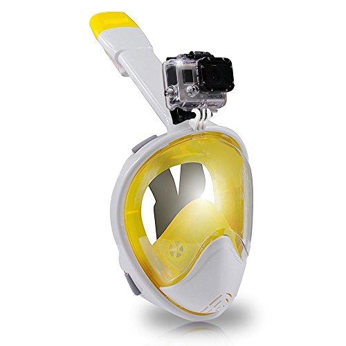 シュノーケリング マリンスポーツ 【送料無料】Voyager H2O 180° Full Face Snorkel Mask, Large Rounded Panoramic Mask Viewing, Camera Mount, Anti-Leak, No More Gag Reflex, Easybreath Snorkeling (Yellow Snorkel, S/M)シュノーケリング マリンスポーツ