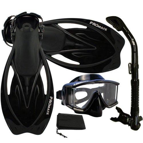シュノーケリング マリンスポーツ Promate Snorkeling Scuba Dive Panoramic PURGE Mask Dry Snorkel Fins Gear Set, ALLBlack, S/Mシュノーケリング マリンスポーツ