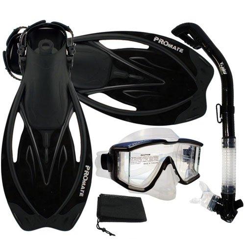 シュノーケリング マリンスポーツ PROMATE Snorkeling Scuba Dive Panoramic PURGE Mask Dry Snorkel Fins Gear Set, Trans. Black, S/Mシュノーケリング マリンスポーツ