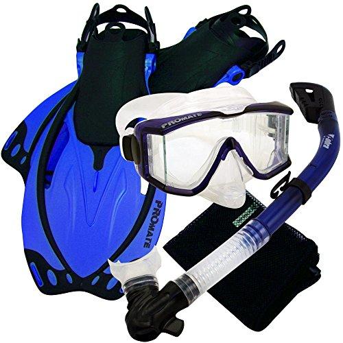 シュノーケリング マリンスポーツ PROMATE Snorkeling Scuba Dive Panoramic PURGE Mask Dry Snorkel Fins Gear Set, Trans. Blue, S/Mシュノーケリング マリンスポーツ