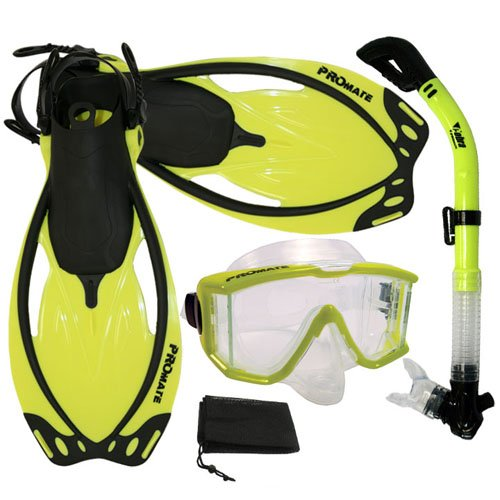 シュノーケリング マリンスポーツ Promate Snorkeling Scuba Dive Panoramic PURGE Mask Dry Snorkel Fins Gear Set, Yellow, ML/XLシュノーケリング マリンスポーツ