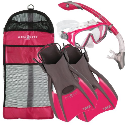 シュノーケリング マリンスポーツ Aqualung Snorkel Set with Sport Diva 1 Lx Mask, Island Dry Snorkel and Trek Fin, Pink, Smallシュノーケリング マリンスポーツ