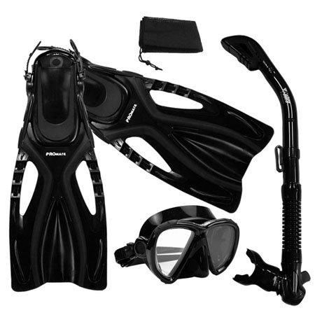 シュノーケリング マリンスポーツ 【送料無料】Promate Snorkeling Scuba Dive Fins Mask Snorkel Set w/Mesh Bag, Black, ML/XLシュノーケリング マリンスポーツ