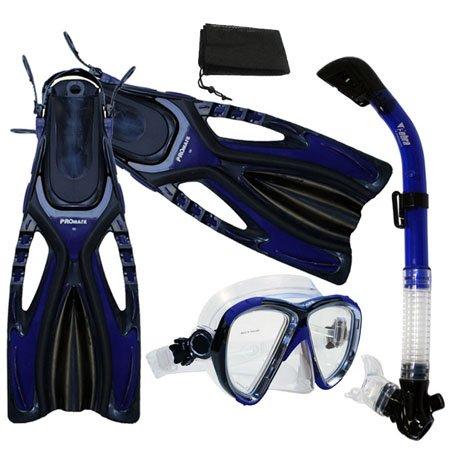 シュノーケリング マリンスポーツ 夏のアクティビティ特集 PROMATE Snorkeling Scuba Dive Fins Mask Snorkel Set w/ Mesh Bag, Blue, S/Mシュノーケリング マリンスポーツ 夏のアクティビティ特集
