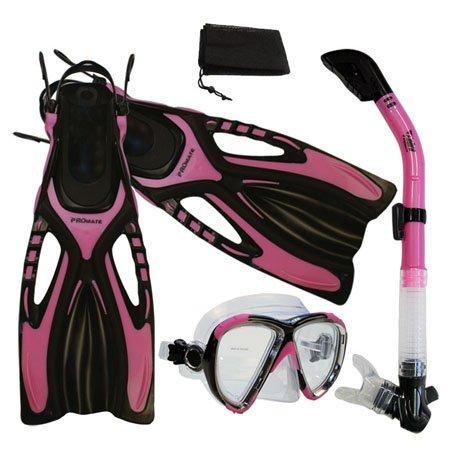 シュノーケリング マリンスポーツ PROMATE Snorkeling Scuba Dive Fins Mask Snorkel Set w/ Mesh Bag, Pink, S/Mシュノーケリング マリンスポーツ