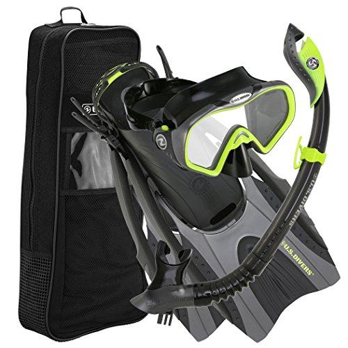 シュノーケリング マリンスポーツ 281077 U.S. Divers Pro LX+ Snorkeling Set with Starbuck Iii LX Purge Mask, Neon Black, Large/X-Largeシュノーケリング マリンスポーツ 281077