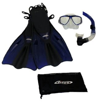 シュノーケリング マリンスポーツ Tilos Silicone Mask, Purge Snorkel, Adjustable Open Heel Snorkeling Fins with Mesh Bag Set, Blue, S/Mシュノーケリング マリンスポーツ